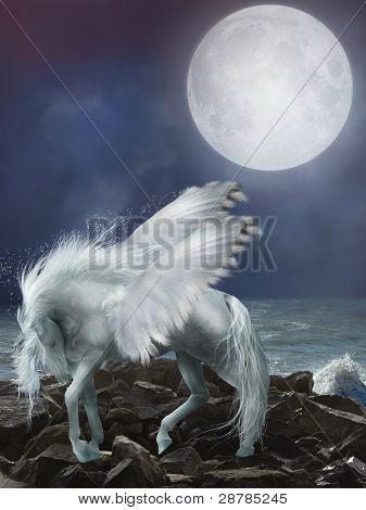 white pegasus in the stones with waves poster