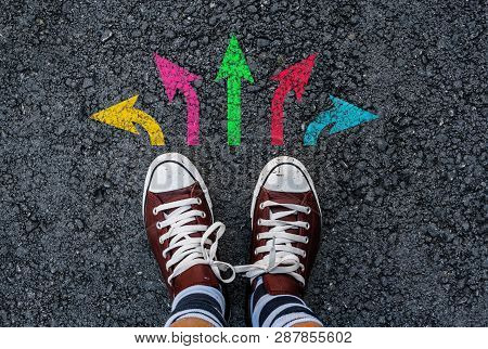 Men With A Shoes Are Standing Next To Colorful Direction Arrow Choices