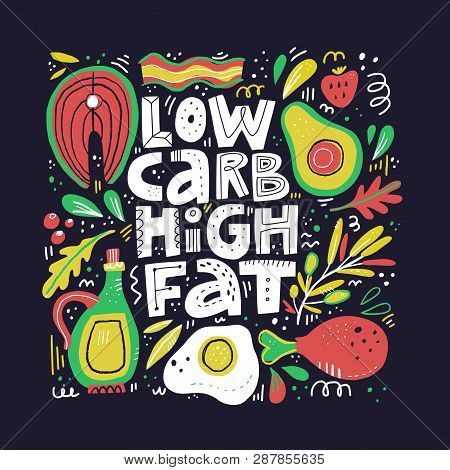 Keto Diet Flat Hand Drawn Vector Illustration. Low Carb High Fat Collage Lettering. Ketogenic Eating