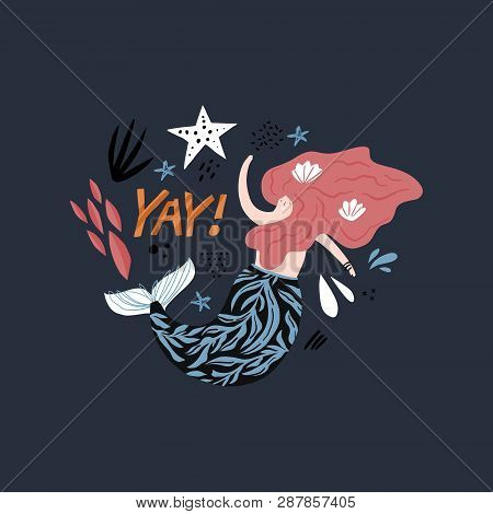 Mermaid Cartoon Greeting Card Vector Template. Underwater Magical Life. Red Haired Girl With Tail. Y