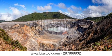 Panoramic view of the crater of Poas Volcano in Costa Rica