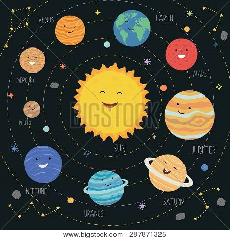 Cute Planets With Funny Smiling Faces. Solar System With Cute Cartoon Planets. Funny Universe For Ki