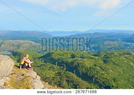Bergen, Norway - July 19, 2018: A Beautiful View From The Mount Ulriken In Bergen, Norway