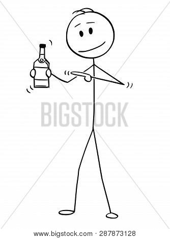 Cartoon Stick Figure Drawing Conceptual Illustration Of Man Holding Bottle Of Alcohol And Pointing A