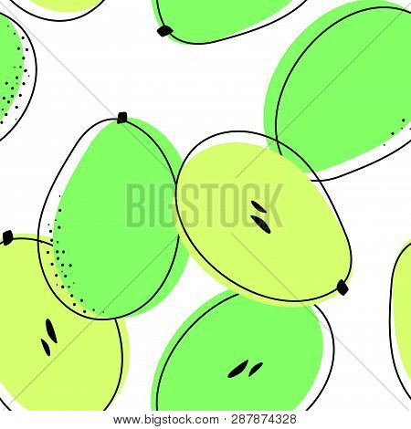 Seamless Pattern With Ambarellas. Vector Drawing Of Rare Topucal Exotic Fruit - Ambarella. Spondias
