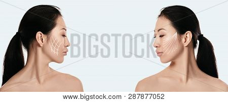 Left And Right Profile Of Attractive Asian Woman With Arrows On Her Face On White Background. Face L