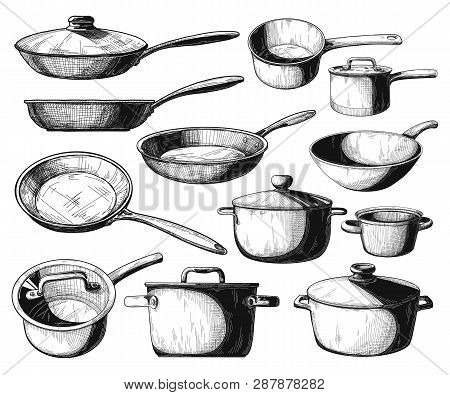 Set Of Frying Pan And Different Pots Isolated On White Background. Vector Illustration.