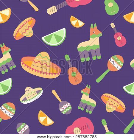 Cinco De Mayo Seamless Pattern For Festival In Mexico, Flat Style. T-shirt Print Of Colorful Symbols