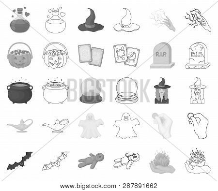 Monochrome, Outline And White Magic Monochrome, Outline Icons In Set Collection For Design. Attribut
