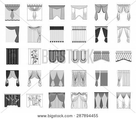 Different Kinds Of Curtains Monochrome, Outline Icons In Set Collection For Design. Curtains And Lam
