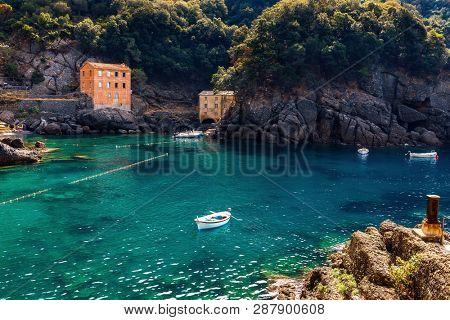 Small bay among rocks at San Fruttuoso, Liguria, Italy.