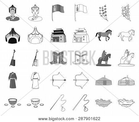 Country Mongolia Monochrome, Outline Icons In Set Collection For Design.territory And Landmark Vecto