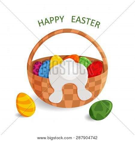 Vector Illustration Of Cute Greeting Card Of Happy Easter. Drawing With Wicker Basket, Painted Eggs