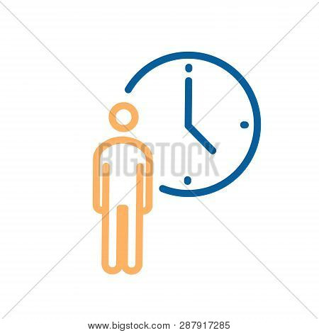 Person With Clock Icon. Vector Thin Line Illustration For Concepts Of Business, Delivery, Order, Wai
