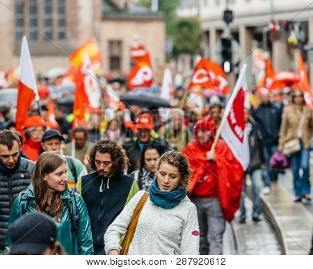 Strasbourg, France - Sep 12, 2017: Young People At Political March During A French Nationwide Day Of