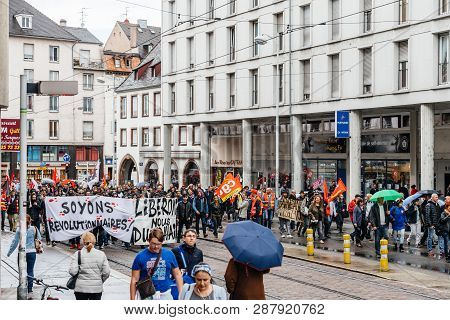 Strasbourg, France - Sep 12, 2017: People With Placards At Political March During A French Nationwid