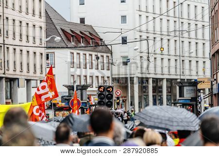 Strasbourg, France - Sep 12, 2017: Closed Street Due To Political March During A French Nationwide D