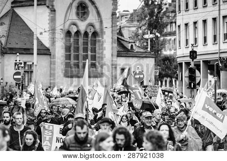 Strasbourg, France - Sep 12, 2017: Large Crowd Of People March During A French Nationwide Day Of Pro