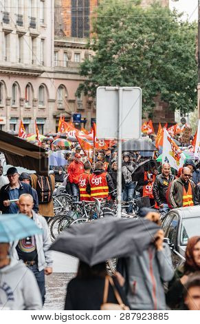Strasbourg, France - Sep 12, 2017: Rear View Of Protesters In City Political March During A French N
