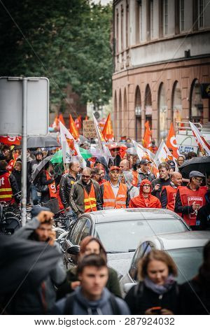 Strasbourg, France - Sep 12, 2017: People In Red Vests At Political March During A French Nationwide