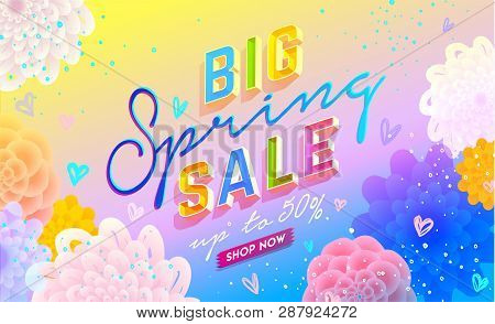 Big Spring Sale Banner. Trendy Texture. Season Vocation, Weekend, Holiday Logo. Spring Time. Happy S
