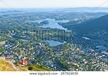 Beautiful View With Ulriken Cable Car Seen From The Mount Ulriken In Bergen, Norway
