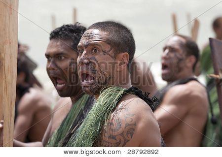 Maori Warrior Looking Scary At A Haka