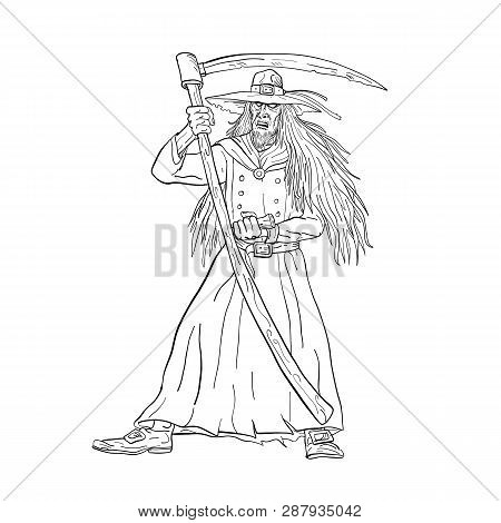 Drawing Sketch Style Illustration Of Ankou, Henchman Of Death, Keeper Of Lost Souls And Graveyard Wa