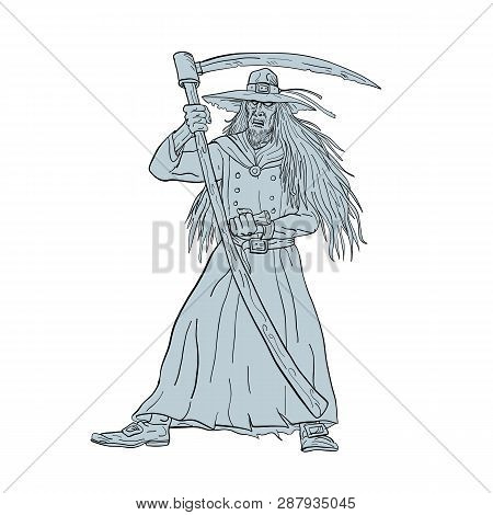 Drawing Sketch Style Illustration Of Ankou, Henchman Of Death, Celtic Keeper Of Lost Souls And Grave