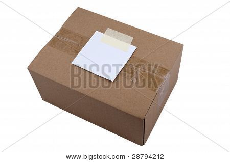 Closed Cardboard box on isolated background