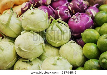 Close Up Of Kohlrabi On Market Stand