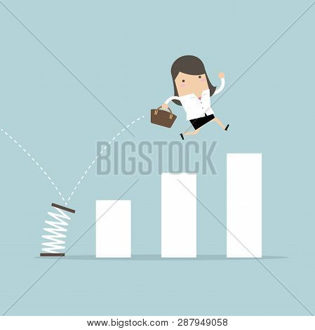 Busineswoman Jump Spring Across The Growing Bar Chart. Growth For Business Concept.