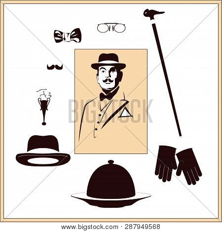 Humorous Picture Of Detective's Set. Vector Illustration