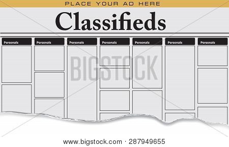 The First Page Of Newspaper Classifieds For Personals, Place Your Ad Here