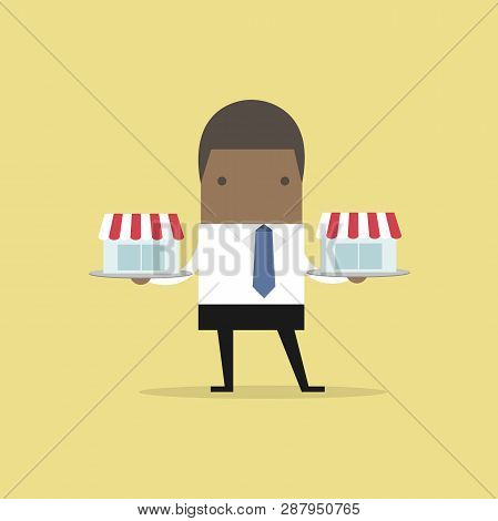 African Businessman With Franchise Shop On Tray, Franchise Concept.