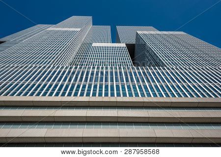 Rotterdam, Netherlands - March 26, 2016: De Rotterdam Building Low Angle View Against Blue Sky