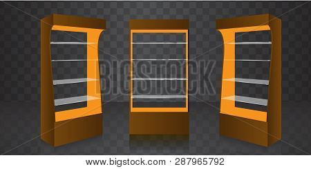 Pos Poi Cardboard Glass Floor Display Rack For Supermarket. Empty Glass Shelves. Vector Illustration