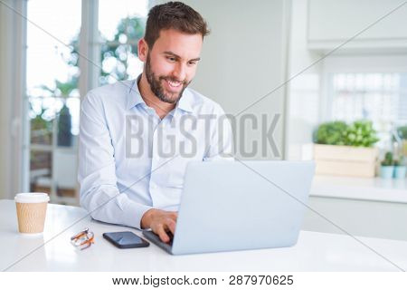 Handsome business man working using computer laptop and smiling