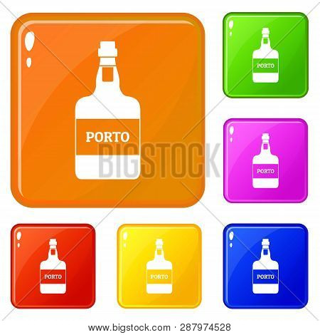 Port Wine Icons Set Collection Vector 6 Color Isolated On White Background