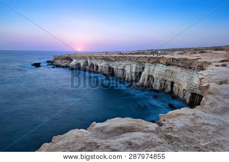 View Of Cliff With Sea Caves At Sunset On Cape Greco Near Ayia Napa, Cyprus (hdr Image)