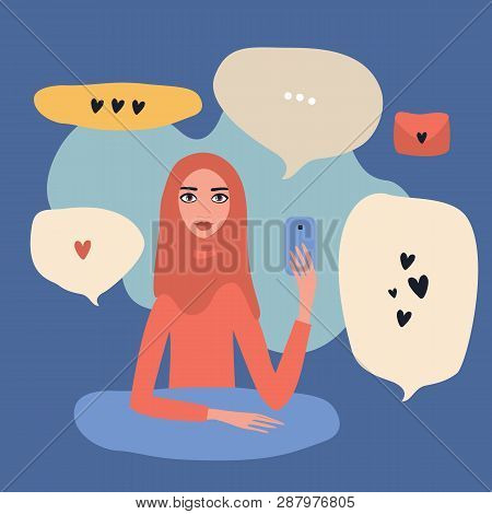 Lovely Young Beautiful Muslim Woman Wearing Hijab Holding Mobile Phone In Hand Texting Modern Commun