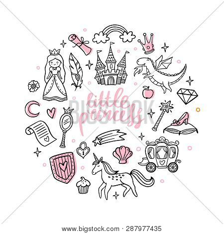 Fashion Cartoon Magic Objects. Cute Fairy Tale Princess, Castle, Dragon, Unicorn And Other Elements.