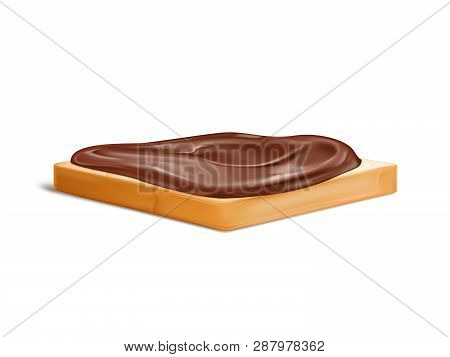 Slice Of Wheat Bread With Chocolate Cream Or Nougat Spread 3d Realistic Vector Isolated On White Bac