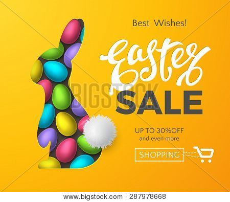 Vector Template Of Easter Sale Banner With 3d Colorful Eggs, Text And Realistic Layered Cut Out Pape
