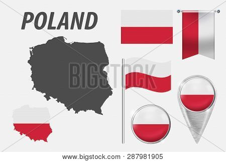 Poland. Collection Of Symbols In Colors National Flag On Various Objects Isolated On White Backgroun