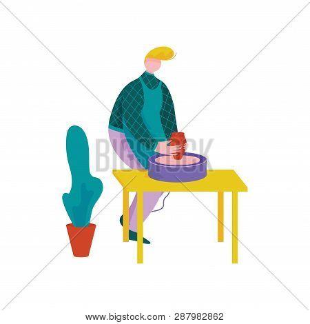 Male Ceramists Making Ceramic Pot At Pottery Workshop, Craft Hobby Or Profession Vector Illustration