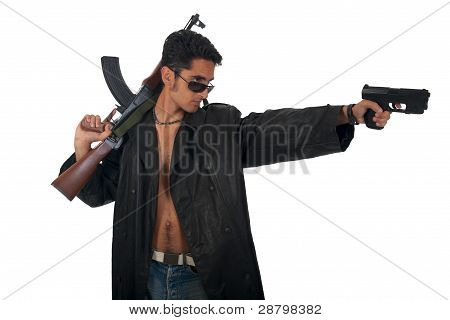 Handsome Man With Gun In Leather Raincoat.