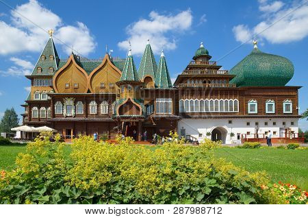 Moscow, Russia - August 9, 2017: The Palace Of Tsar Alexei Mikhailovich In Kolomenskoye Park