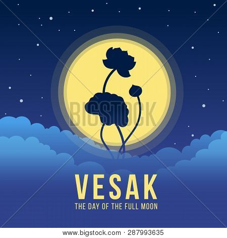 Vesak Day Banner With Silhouette Lotus On Yellow Full Moon At Night Time Vector Design