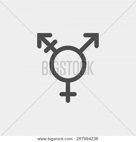 Transgender Vector Icon. Combining Gender Symbols Isolated On White Background